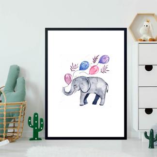 Постер Детеныш слона с шариками  - фото 2