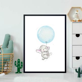 Постер Слон летит на голубом шаре  - фото 2