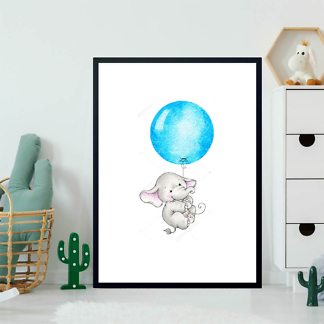 Постер Слон летит на синем шаре  - фото 2