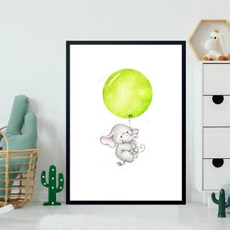 Постер Слон летит на зеленом шаре  - фото 2
