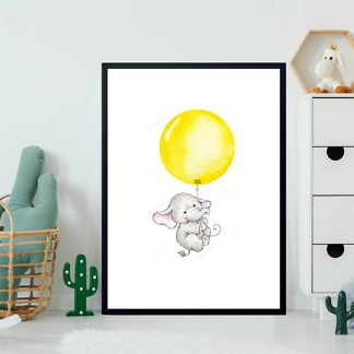 Постер Слон летит на жёлтом шаре  - фото 2