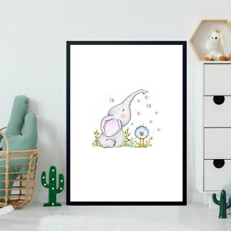 Постер Слон с птичкой  - фото 2