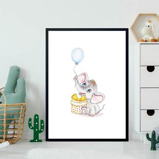 Постер Слон с воздушным шаром и подарком  - фото 2