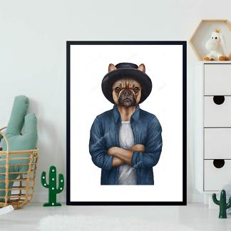 Постер Французский бульдог в шляпе  - фото 2