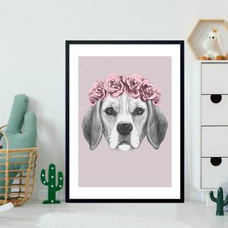 Постер Собака в венке на розовом фоне  - фото 2
