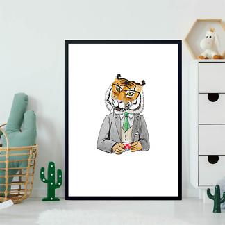 Постер Тигр за чашечкой кофе  - фото 2