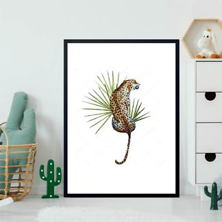 Постер Ягуар с листом пальмы  - фото 2