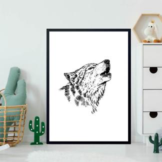 Постер Черно-белый волк  - фото 2