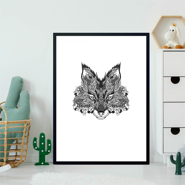Постер Волк в тату стиле  - фото 2