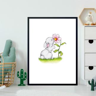 Постер Заяц нюхает цветок  - фото 2