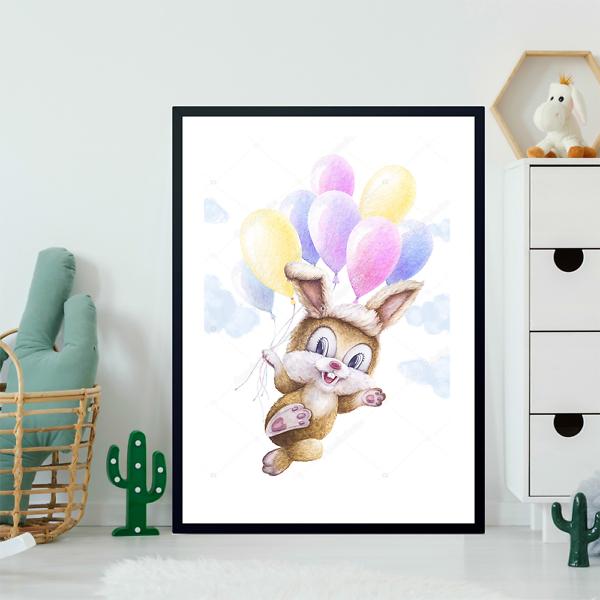 Постер Заяц с шариками в облаках  - фото 2