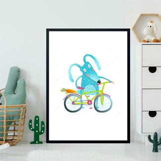 Постер Заяц с велосипедом  - фото 2