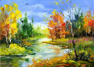 Картина осень в лесу  - фото
