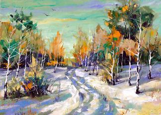 Картина зимняя дорога  - фото