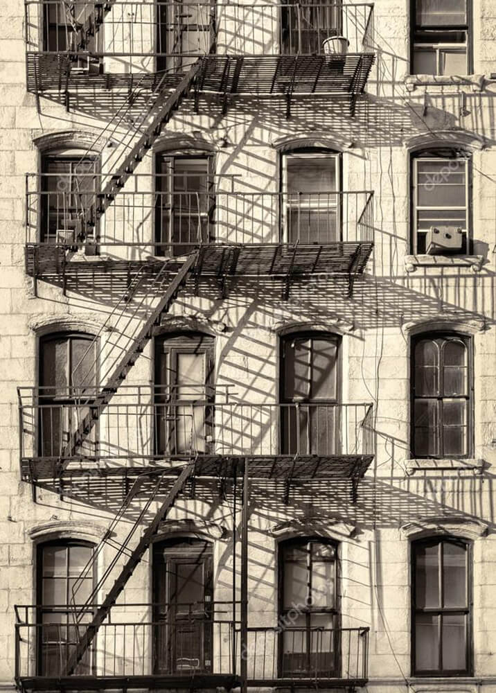 Постер старое здание в Нью-Йорке  - фото