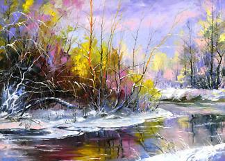 Картина весенняя река  - фото