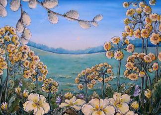 Картина луговые цветы  - фото