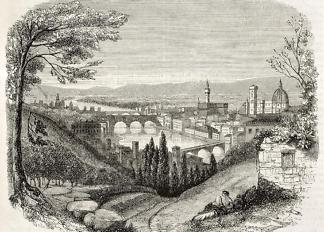 Картина мосты Флоренции  - фото