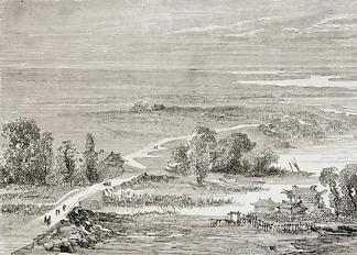 Картина вид на мост через реку  - фото