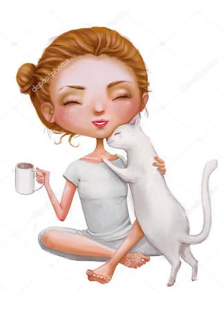 Постер девушка с кошкой  - фото