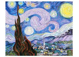 Картина Звездная ночь ремикс с оригинальной работы Ван Гога  - фото