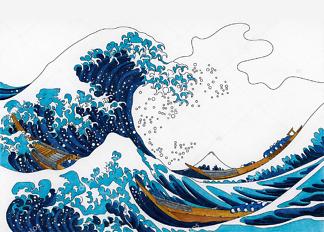 Картина Большие волны в Каганаве ремикс с оригинальной работы Кацусика Хокусай  - фото