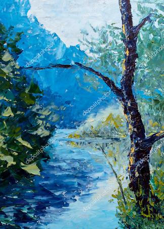 Картина река  - фото