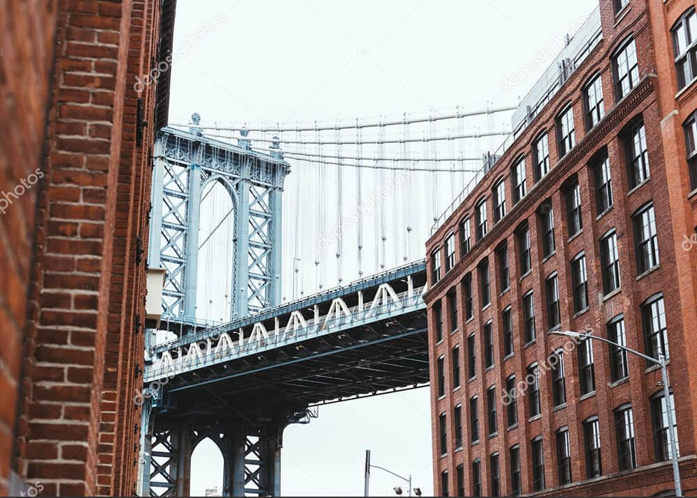 Картина вид на мост в Нью Йорке  - фото