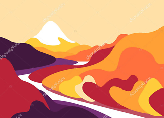 Картина река на закате  - фото