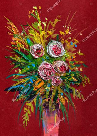 Картина букет с розами  - фото