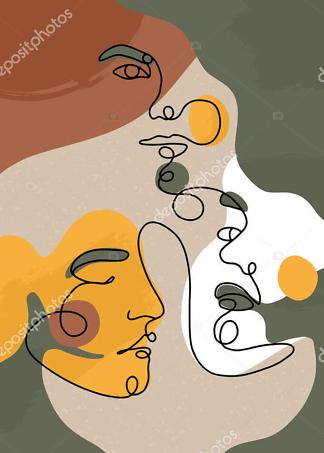 Картина лица одной линией цветной  - фото