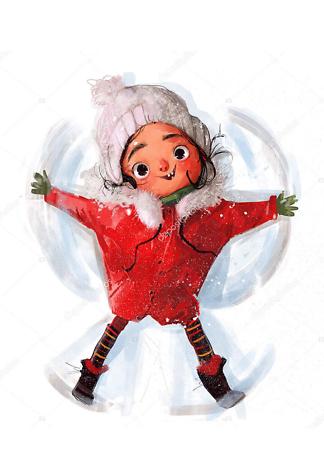 Постер ангел на снегу  - фото
