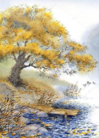Картина акварель дерево у воды  - фото