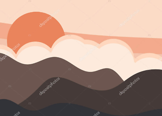 Картина туман над горами  - фото