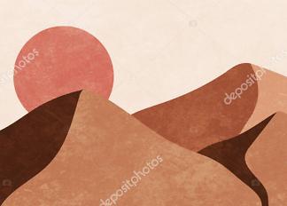 Картина утро в пустыне  - фото