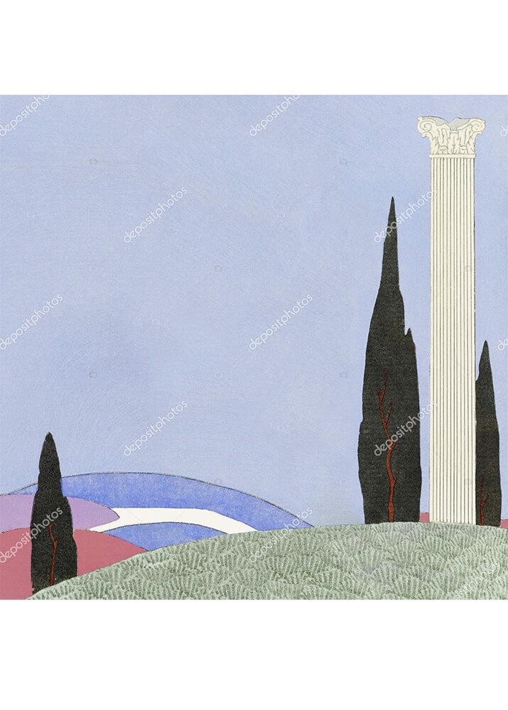 Постер колонна на холме  - фото