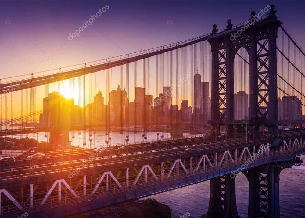 Картина закат над мостом в Нью Йорке  - фото