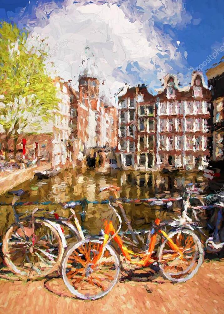Картина вид с мостика в Амстердаме  - фото