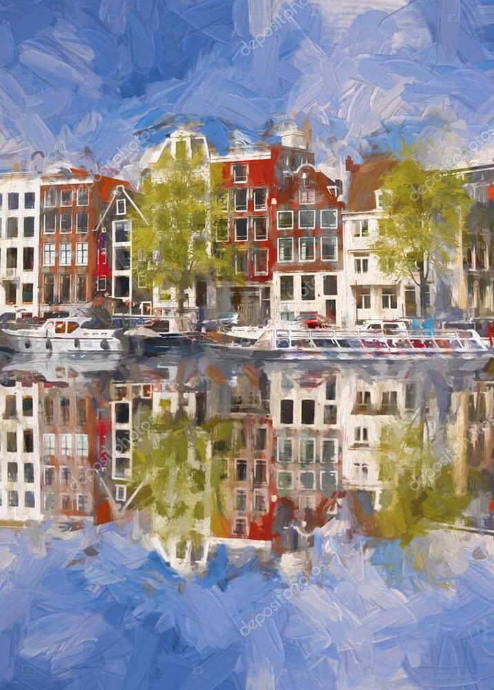 Картина вид на Амстердам с воды  - фото