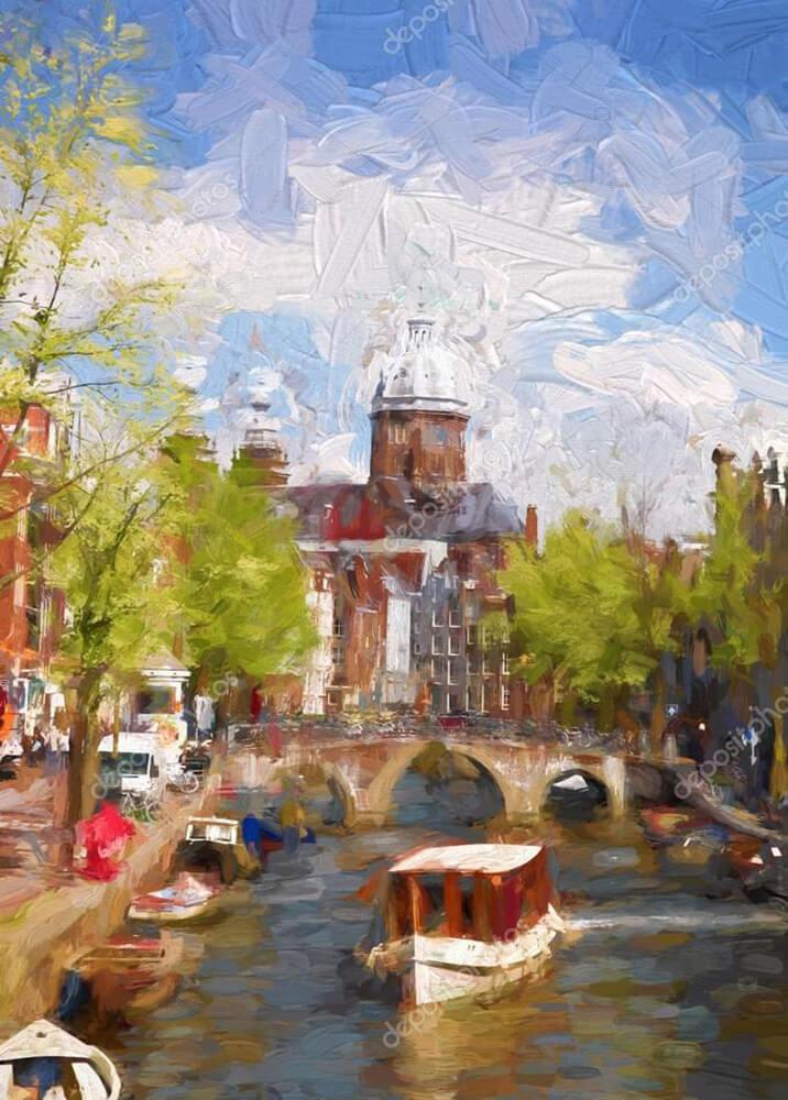 Картина лодочка на канале в Амстердаме  - фото