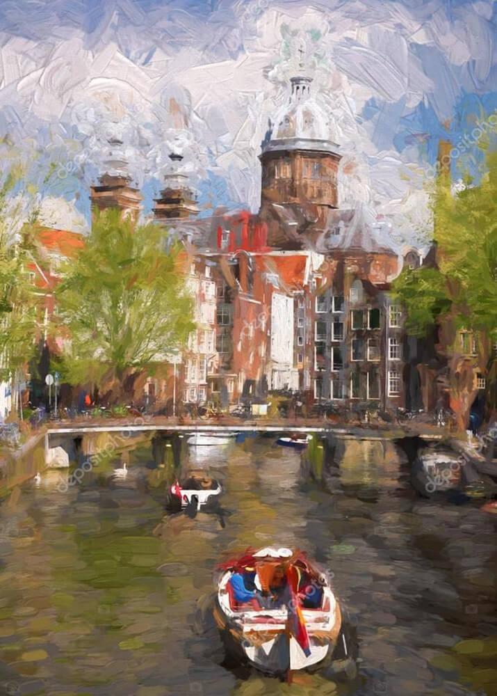 Картина мост в Амстердаме  - фото