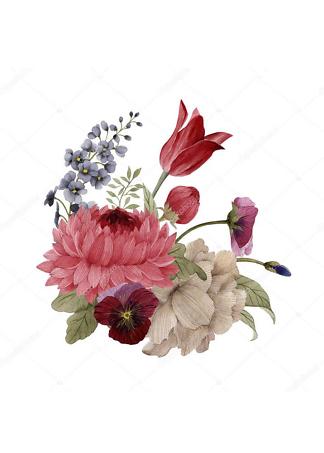Картина букет с пионами и тюльпаном  - фото