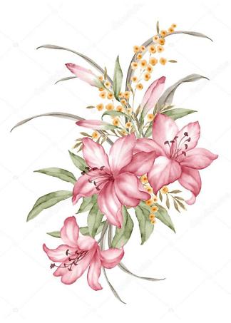 Картина акварельные лилии  - фото
