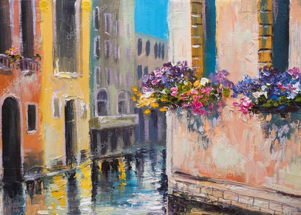 Картина каналы Венеции  - фото