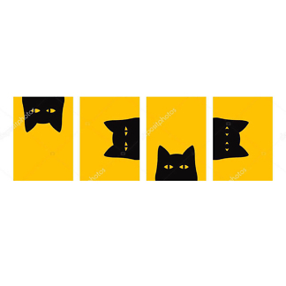 Модульная картина озорной кот  - фото