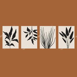Модульная картина силуэты растений  - фото
