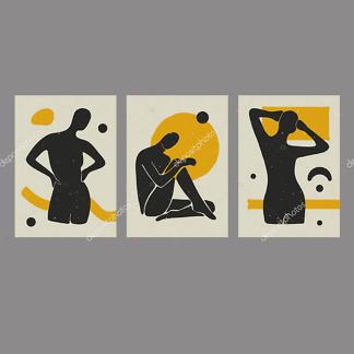 Модульная картина силуэты в стиле бохо с желтым  - фото