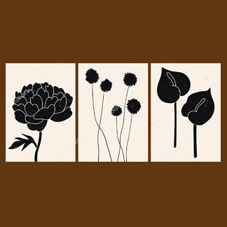 Модульная картина цветы  - фото