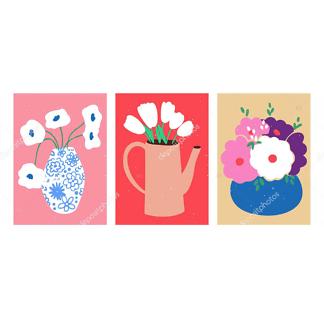 Модульная картина цветы в вазах  - фото