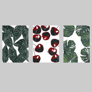 Модульная картина вишня и листья  - фото